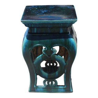 Chinese Green Blue Square Coins Clay Ceramic Garden Stool For Sale