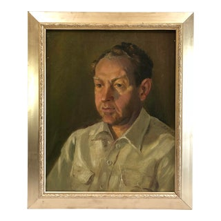 1940s Vintage Portrait of a Man in White Shirt Oil on Canvas Painting For Sale