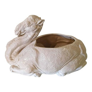Vintage White Camel Planter Ceramic Italian For Sale