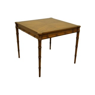 Asian Mount Airy Asian Inspired Faux-Bamboo Square Game Table For Sale