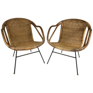 Rattan and Wrought Iron Armchairs in the Manner of Arthur Umanoff For Sale