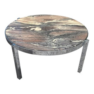 German Marble and Chrome Coffee Table For Sale
