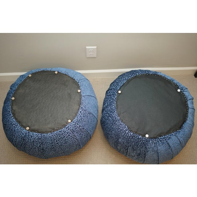 Mid 20th Century Vintage Mid Century Vladimir Kagan for Directional Pouf Soufflé Ottomans - a Pair For Sale - Image 5 of 6