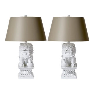 Barbara Cosgrove Foo Lion Lamps & Shades - A Pair