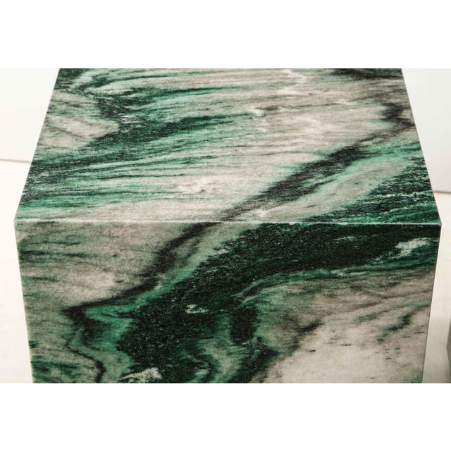 Polar Verde Marble Cubes or Side Tables - a Pair For Sale - Image 9 of 11
