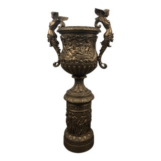 Antique Neoclassical Bronze Planter (2 Available) For Sale