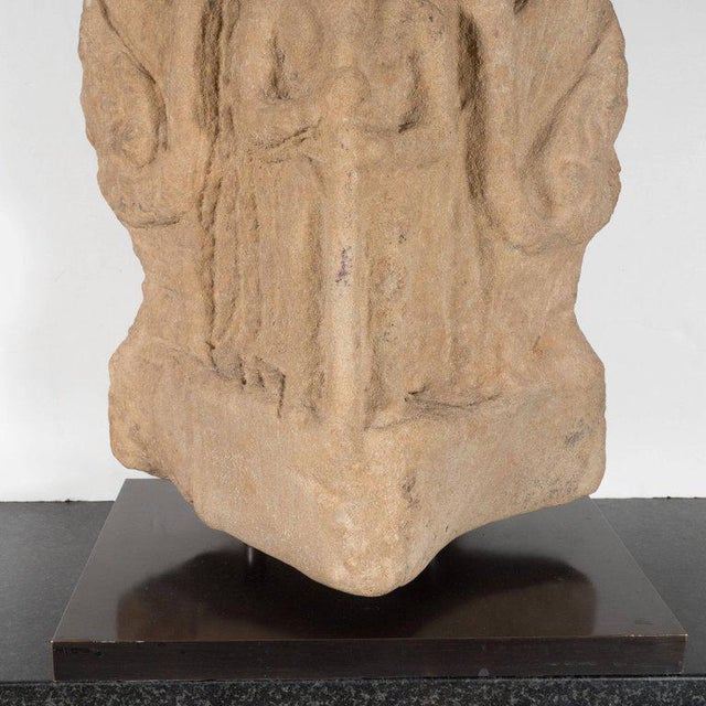 Tan Antique Indian Hand-Carved Limestone Temple God with Lotus Leaf Motif For Sale - Image 8 of 11
