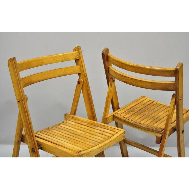 1950s Vintage Wood Slat Folding Dining Game Chairs- Set of 4 For Sale - Image 9 of 11