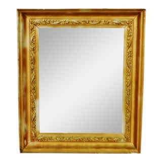 Antique Framed Wood Mirror With Carved Wood Filigree Trim For Sale