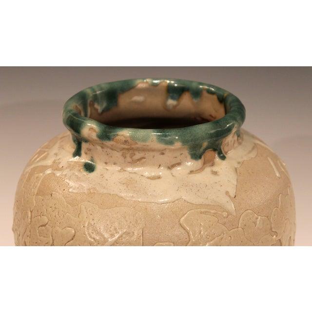 Ceramic Vintage Awaji Pottery Large Japanese Jar Dripped and Splashed Glaze Vase For Sale - Image 7 of 9