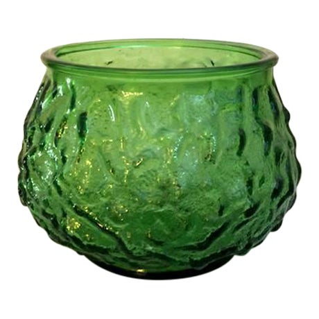 EO Brody Vintage Mid-Century Green Textured Glass Vase - Image 1 of 3