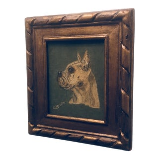Vintage Mid-Century Dog Portrait Signed Painting For Sale