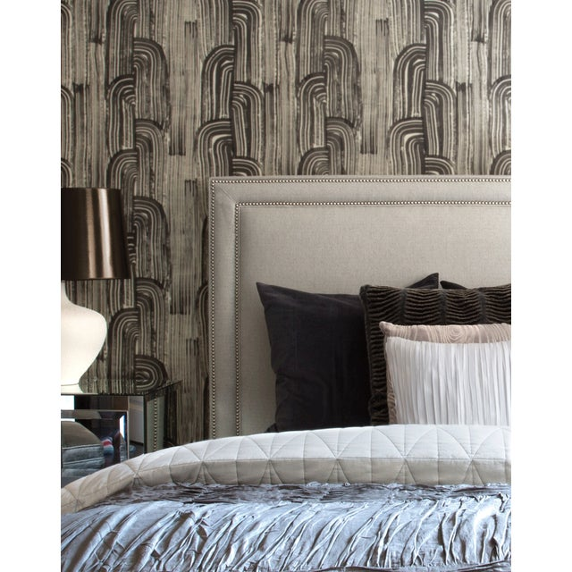 Groundworks Crescent Wallpaper in Ebony/Cream For Sale - Image 4 of 4