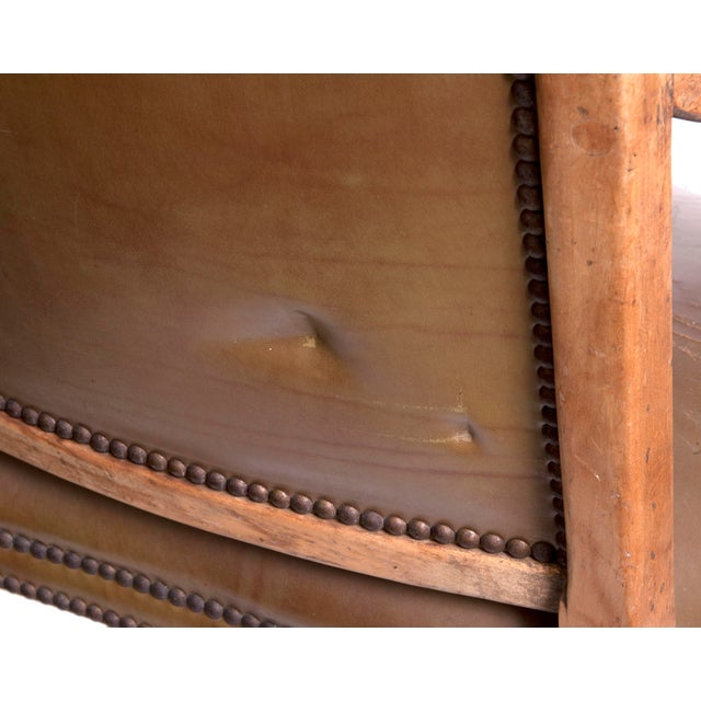 1950s Vintage Leather Arm Chair by Baker For Sale - Image 5 of 6