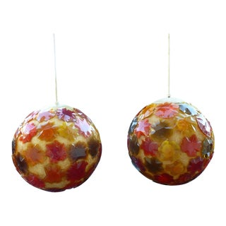 1960s Vintage Wild Flower Power Fiberglass and Lucite Hanging Ball Pendant Lights - A Pair For Sale