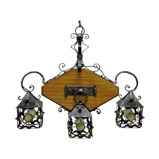 Vintage Mission Arts & Crafts Gothic Wood Wrought Iron Curule Chandelier Fixture For Sale