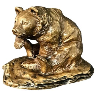 Seated Bronze Bear Signed m.h. Wiechmann For Sale