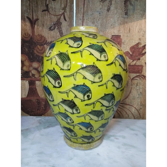 1960s Contemporary Persian Yellow Ceramic Fish Vase For Sale - Image 10 of 10