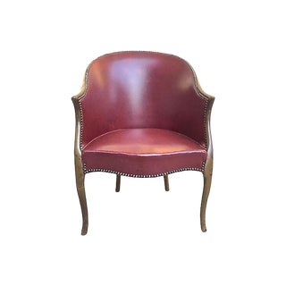 19th Century Antique Red Leather Bergére Armchair For Sale