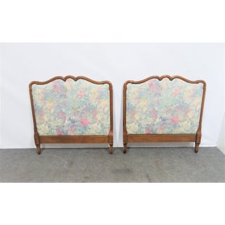 20th Century Louis XV Style Cherry Upholstered Twin Headboards - a Pair Preview