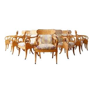 Set of Twelve Baker Regency Style Burl Wood Klismos Armchairs For Sale