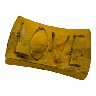 "Vintage Brass ""Love"" Paperweight For Sale"