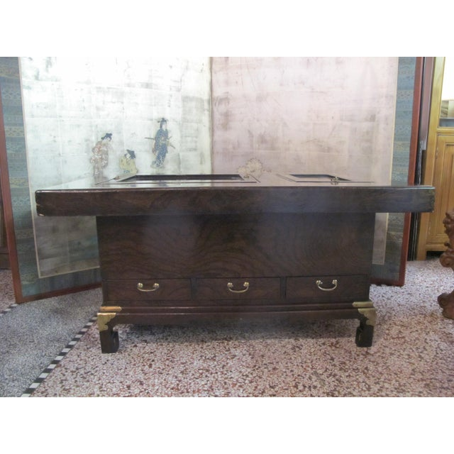 Japanese Dark Wood Grain Hibachi Coffee Table With Drawers For Sale - Image 10 of 11
