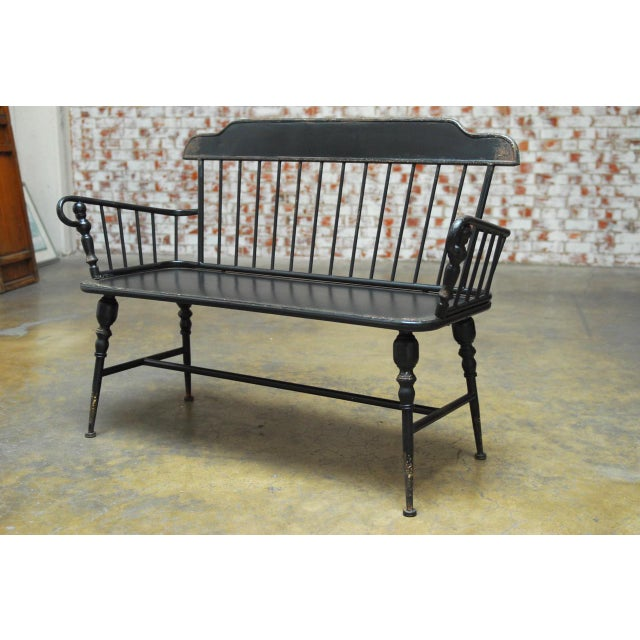 Antique Style Black Metal Windsor Bench Chairish
