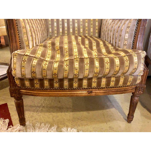 Large Jansen Style Louis XVI Living Room Suite Couch and Two Lounge Chairs - Image 6 of 14