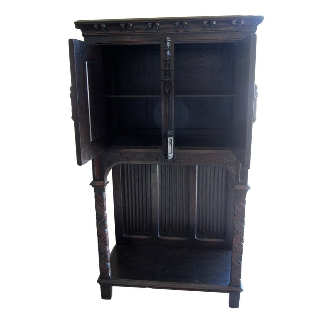 Gothic Revival Carved Oak Monastery Cabinet For Sale - Image 4 of 10