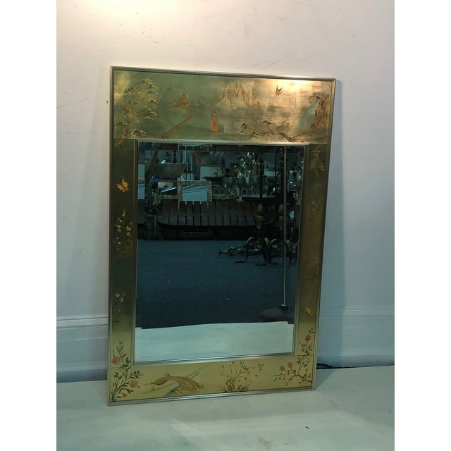"""La Barge hand painted gold leaf eglomise mirror, measures 28 1/2"""" by 42 1/2"""", 1"""" deep. Late 20th century, excellent..."""