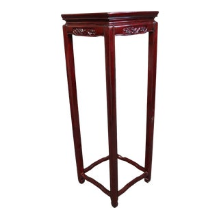 Chinese Rosewood Bird Carved Pedestal Plant Stans For Sale
