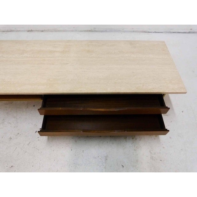 Paul McCobb For Calvin Mahogany, Brass & Travertine Coffee Table For Sale In Denver - Image 6 of 11
