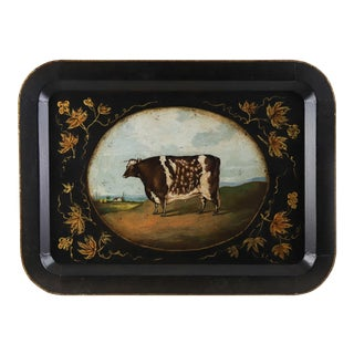 Vintage Country Cow Farm Animal Tray For Sale