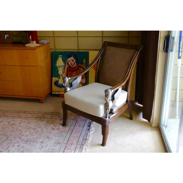 Egyptian Revival Cane and Leather Armchair With Sphinx Arms For Sale - Image 9 of 10