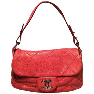 Chanel Red Quilted Glazed Leather Classic Flap Shoulder Bag For Sale