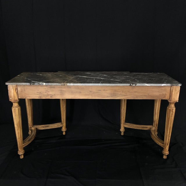 French Louis XVI Style Console Table With Marble Top For Sale - Image 12 of 13