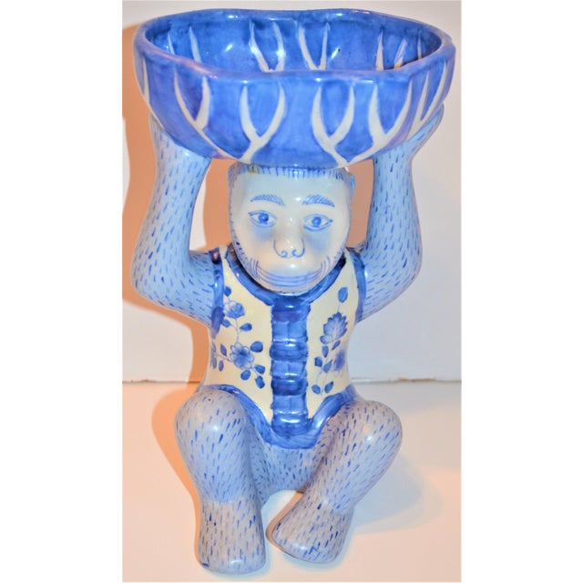 This is a very fun and whimsical vintage porcelain glazed Monkey Serving Dish, in a Chinoiserie design. The Monkey is...