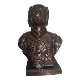 Maitland Smith Bronze Bust of Dog in Military Dress For Sale
