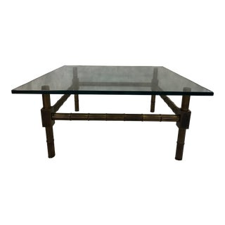 Mid Century Metal and Glass Faux Bamboo Coffee Table For Sale
