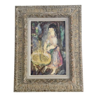 1950s Girl With Harvest Basket by Henri Laville Signed French Painting For Sale
