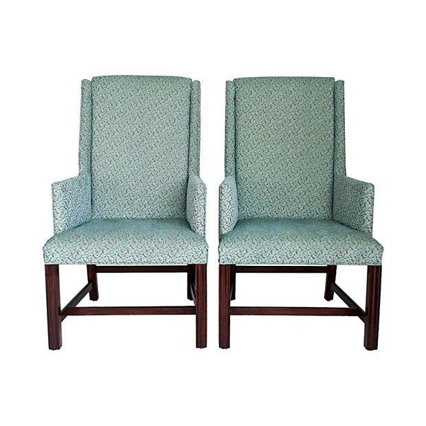 White Furniture Wingback Chairs - A Pair - Image 2 of 8