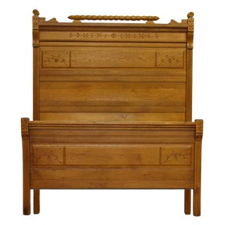 Antique American Carved Chestnut Headboard & Bed Frame For Sale
