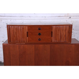Edward Wormley for Dunbar Tambour Door Walnut Floating Wall-Hanging Credenza, 1950s Preview