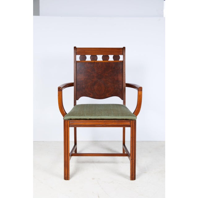 Early 20th Century Art Deco period side chair with a reeded top chair rail and uprights framing four burl walnut veneered...