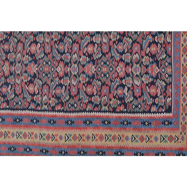 "Antique Senneh Kilim Rug - 4'1"" x 6'2"" - Image 4 of 4"