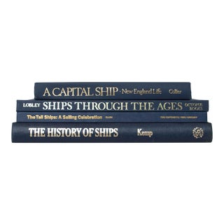Late 20th Century Sail the Ocean Blue Coffee Table Set of Books For Sale