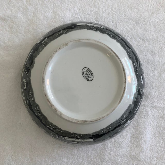 English 1960s English Porcelain Black Transfer Ware Serving Bowl by Spode With Gilt Trim For Sale - Image 3 of 5