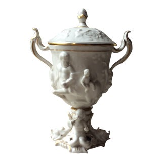 Antique French Porcelain Wine Toasting Goblet With Lid For Sale