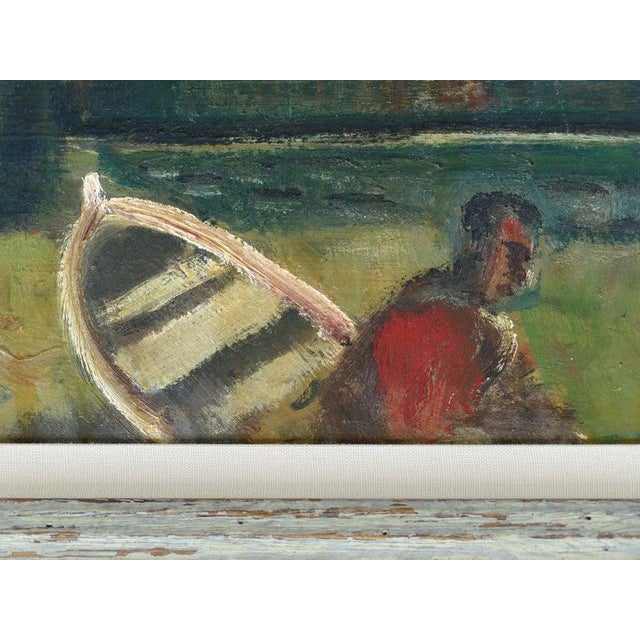 1960 Wpa Style Fishing Boatyard Oil Painting For Sale In Miami - Image 6 of 10